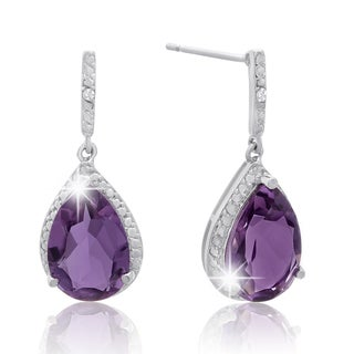 Platinum Overlay 5 1/2ct Pear-cut Amethyst Diamond Accent Drop Earrings
