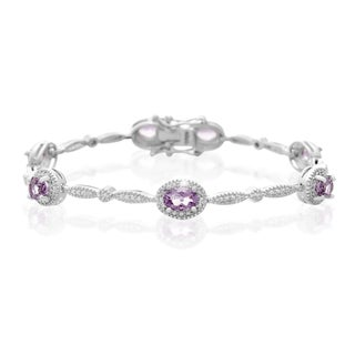 Platinum Overlay 3ct Oval-ct Amethyst Diamond Accent Bracelet