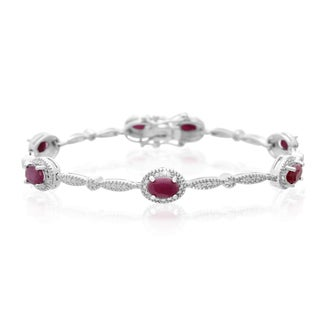 Platinum Overlay 4 1/2ct Oval-cut Ruby Diamond Accent Bracelet