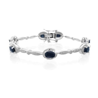 Platinum Overlay 4 1/2ct Oval-cut Sapphire and Diamond Accent Bracelet