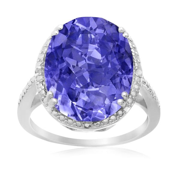 8 Carat Oval Shape Created Tanzanite and Diamond Ring In Sterling Silver