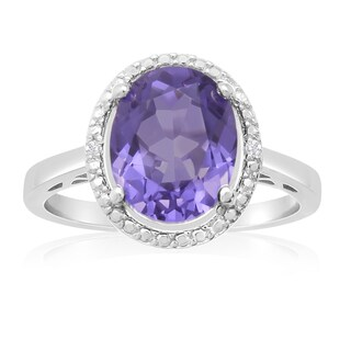 Sterling Silver 3ct Oval-cut Created Tanzanite Diamond Accent Halo Ring