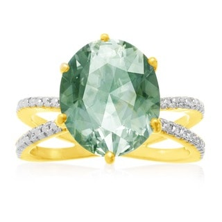 Gold Overlay 4 1/2ct Oval-cut Green Amethyst Diamond Accent Ring