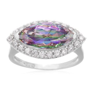 Platinum Overlay 4ct Marquise-cut Mystic Topaz and Cubic Zirconia Ring
