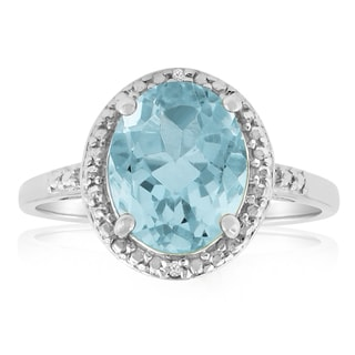 Platinum Overlay 3ct Oval-cut Blue Topaz Diamond Accent Ring