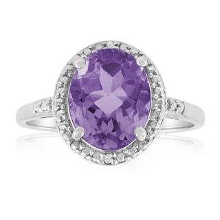 Platinum Overlay 2 1/3ct Oval-cut Amethyst Diamond Accent Ring