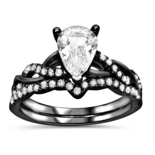 Noori 14k Black Rhodium Gold 2/5ct TDW Diamond and Pear-cut White Sapphire Engagement Ring Set (F-G, SI1-SI-2)