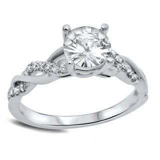 Noori 14k White Gold 1/5ct TDW Diamond and Round-cut White Sapphire Engagement Ring (G-H, SI1-SI2)
