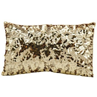 Michael Amini Circle Sequin Gold Throw Pillow (12-inch x 20-inch) by Nourison