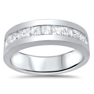 Noori 14k Gold Men's 1 1/10ct TDW Princess-cut Certified Diamond Wedding Band (G-H, SI1-SI2)