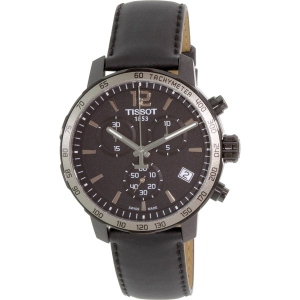Tissot Men's T0954173605702 'Quickster' Chronograph Black Leather Watch 15766898