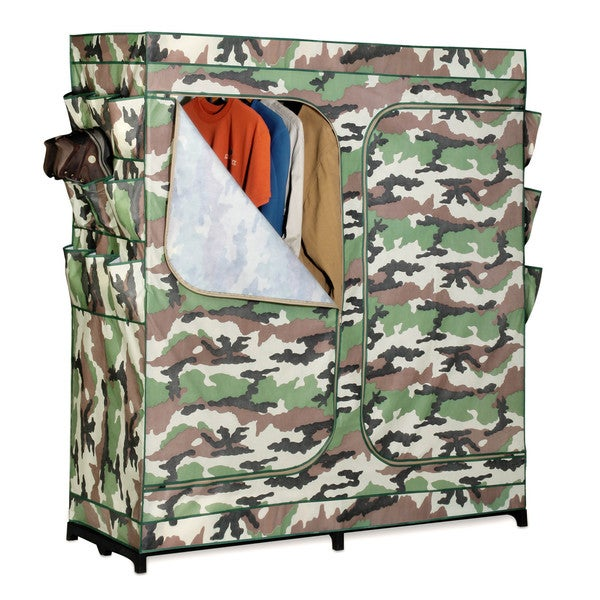 60-inch Double Door Storage Closet- Camouflage with Shoe Organizer