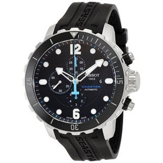 Tissot Men's T0664271705702 'T-Sport Seastar 1000' Automatic Chronograph Black Rubber Watch