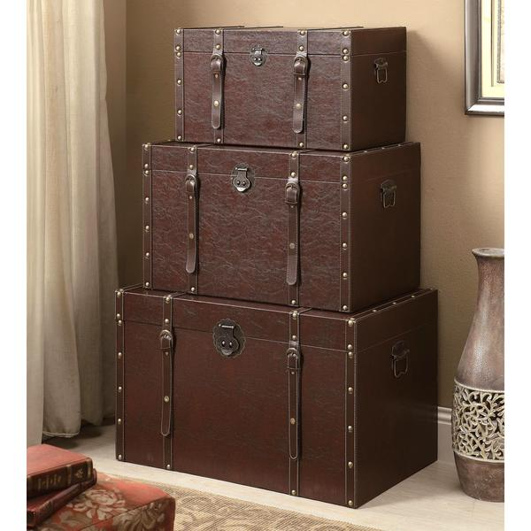 Woodlan Rustic Nesting Storage Trunk Set (Set of 3)