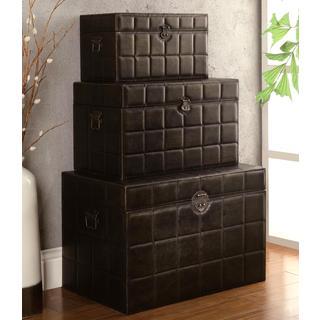Decorative Dark Brown Nesting Storage Trunk Set (Set of 3)