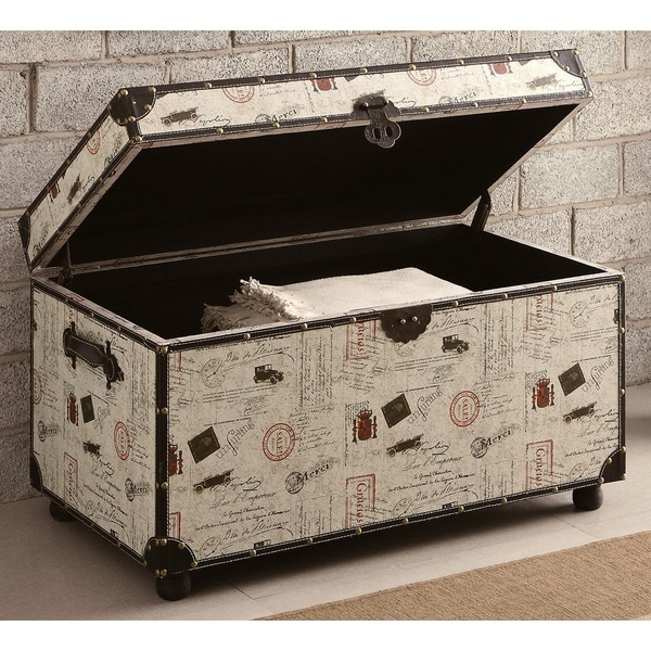 Nostalgic Postage Print Cocktail Table/ Storage Trunk