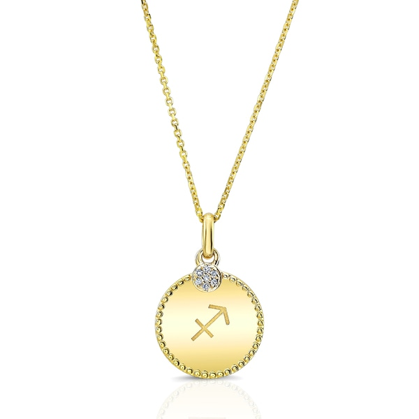Estie G 14k Yellow Gold Diamond Accent Sagittarius Zodiac Pendant
