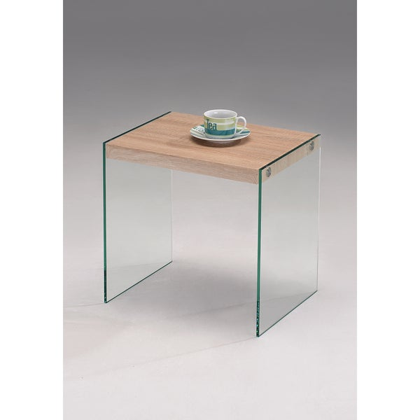 K & B CT-6257-E End Table Oak / Glass Finish