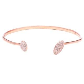 Blue Box Jewels Sterling Silver Cubic Zirconia Oval-Tip Open Bracelet