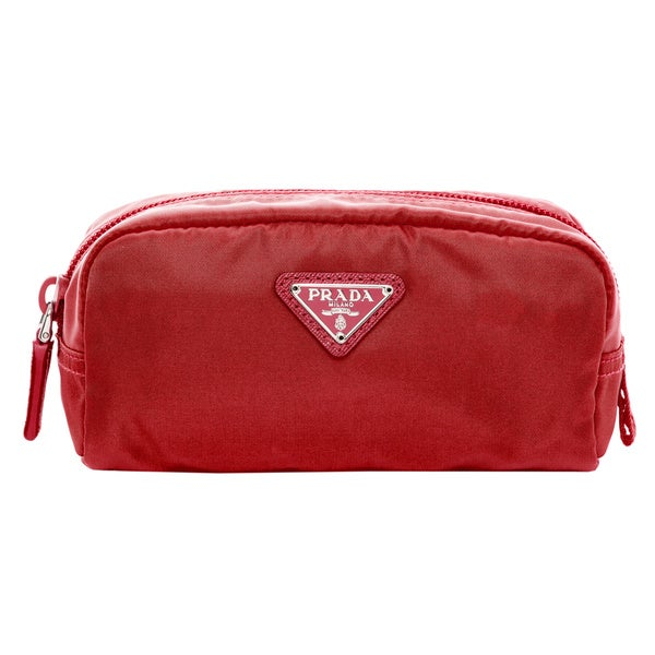 Prada Vela Nylon Red Cosmetic Case