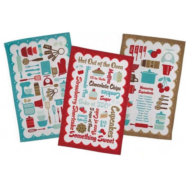 Retro Kitchen Printed Tea Towels (Set of 3)