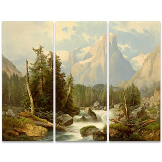 Design Art 'Rolling Creek and Mountains' 36 x 28-inch 3-panel Canvas Art Print