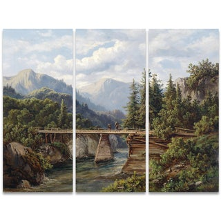 Design Art 'Trecking Accross the Tracks' 36 x 28-inch 3-panel Canvas Art Print