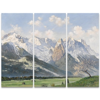 Design Art 'Glacial Mountains and Green Grass' 36 x 28-inch 3-panel Canvas Art Print