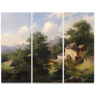 Design Art 'Fishing in the Creek' 36 x 28-inch 3-panel Canvas Art Print