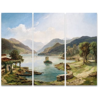 Design Art 'Tranquil Villas Around the Lake' 36 x 28-inch 3-panel Canvas Art Print
