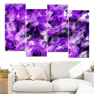Design Art 'Purple Rose Garden' 48 x 28-inch 4-panel Canvas Art Print
