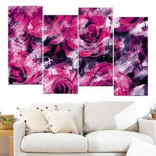 Design Art 'Pink Rose Garden' 48 x 28-inch 4-panel Canvas Art Print