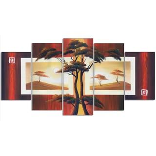 Design Art 'African Tree' 60 x 32-inch 5-panel Landscape Canvas Art Print