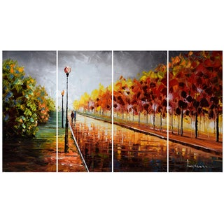 Design Art Landscape Trees 'Stormy Autumn' 48 x 28-inch 4-panel Canvas Art Print