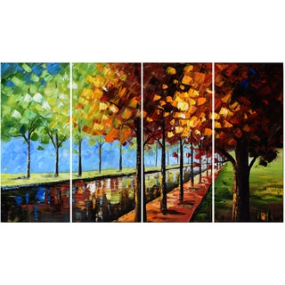 Design Art Landscape Trees 'Changing Colors' 48 x 28-inch 4-panel Canvas Art Print