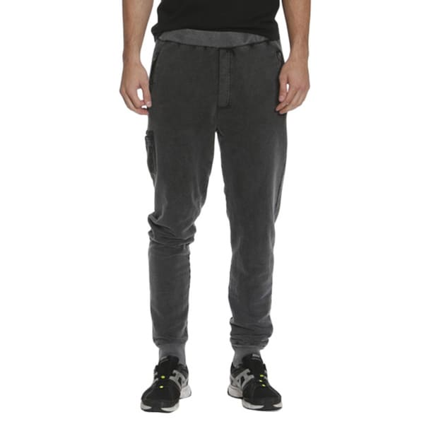 Members Only Men's French Terry Joggers with Leather Trim