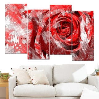 Design Art 'Red Rose' 48 x 28-inch 4-panel Canvas Art Print