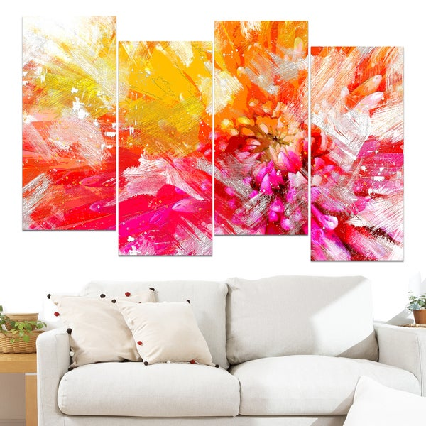 Design Art 'Vibrant Colors Flower' 48 x 28-inch 4-panel Canvas Art Print 15767421