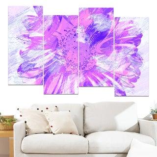 Design Art 'Purple Flower' 48 x 28-inch 4-panel Canvas Art Print