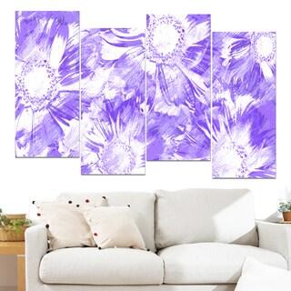 Design Art 'Purple Flowers' 48 x 28-inch 4-panel Canvas Art Print