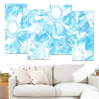 Design Art 'Blue Flowers' 48 x 28-inch 4-panel Canvas Art Print
