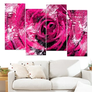 Design Art 'Center of the Pink Rose' 48 x 28-inch 4-panel Canvas Art Print