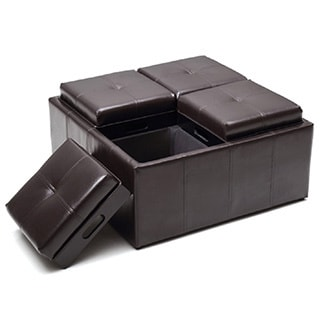 Hodedah Large Storage Ottoman with Flip Over Tray