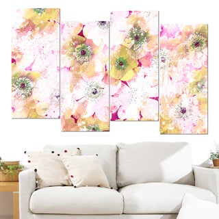 Design Art 'Pink and Yellow Flower Bed' 48 x 28-inch 4-panel Canvas Art Print