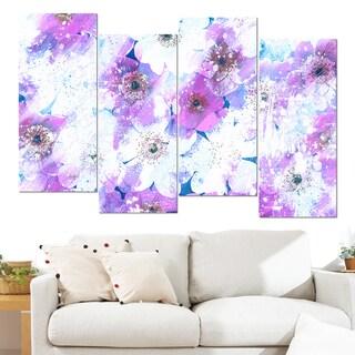 Design Art 'Lavender Flower Bed' 48 x 28-inch 4-panel Canvas Art Print