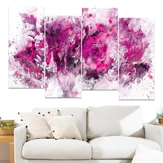 Design Art 'Pink Purple Flowers' 48 x 28-inch 4-panel Canvas Art Print