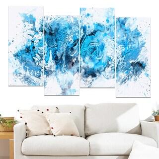 Design Art 'Blue Purple Flowers' 48 x 28-inch 4-panel Canvas Art Print