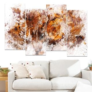 Design Art 'Light Brown Flowers' 48 x 28-inch 4-panel Canvas Art Print