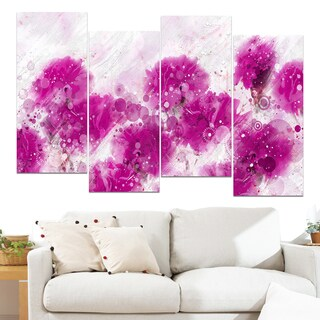 Design Art 'Pink Dandelions' 48 x 28-inch 4-panel Canvas Art Print