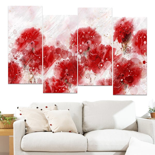 Design Art 'Red Dandelions' 48 x 28-inch 4-panel Canvas Art Print